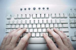 computer keyboard in use