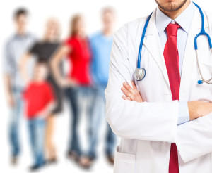 Doctor in front of a group of people
